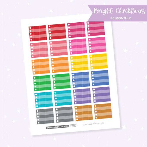 EC MONTHLY / Functional // Printable / Instant Download / Bright Checkboxes