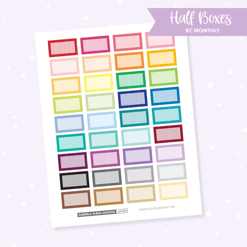 EC MONTHLY / Functional // Printable / Instant Download / Half Boxes