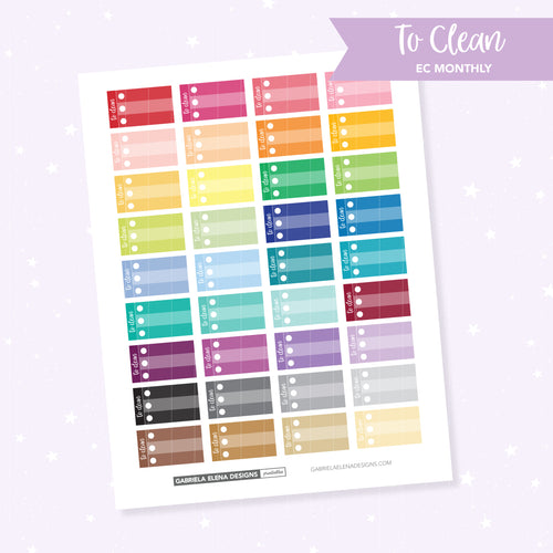 EC MONTHLY / Functional // Printable / Instant Download / To Clean