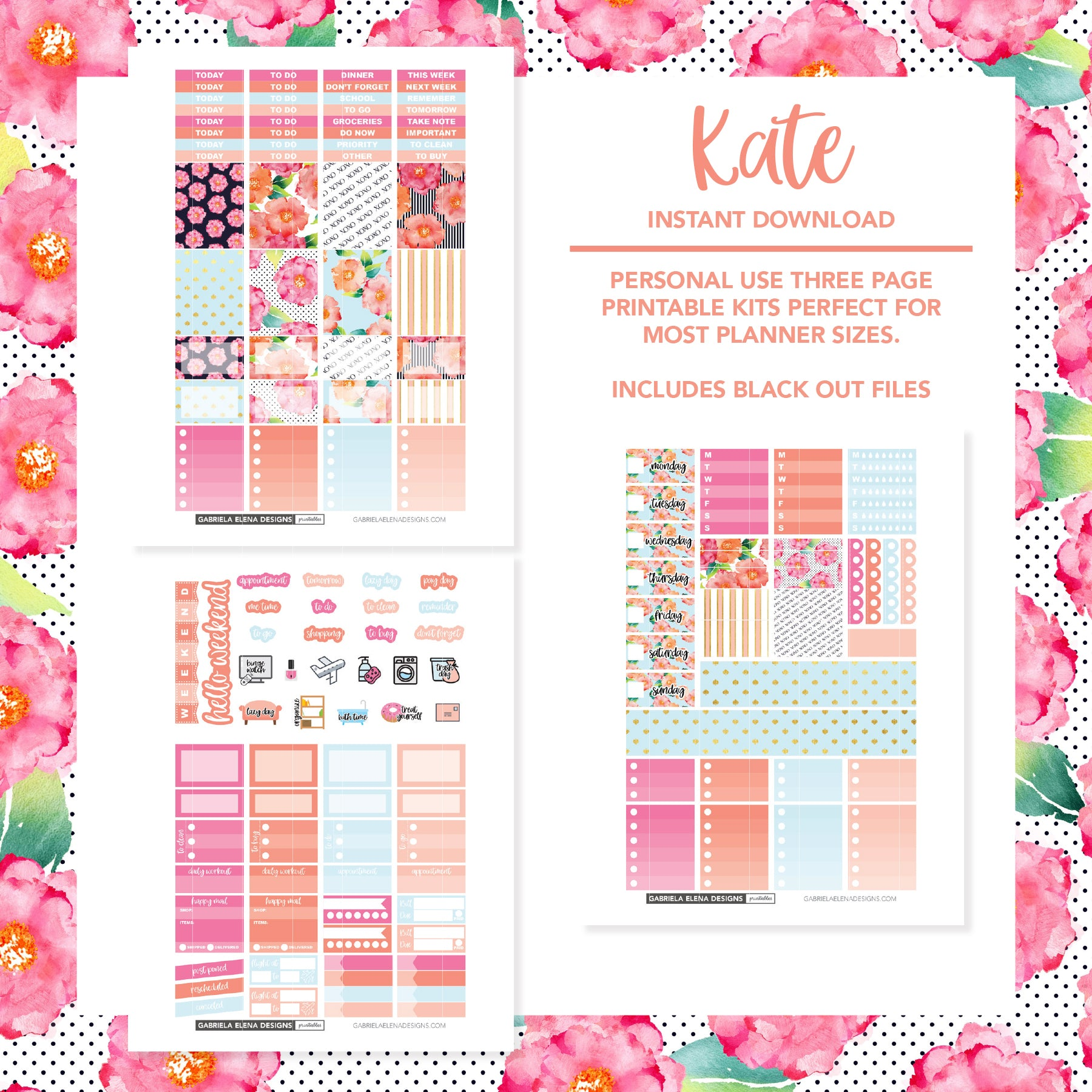 VERTICAL Printable / Instant Download / Kate