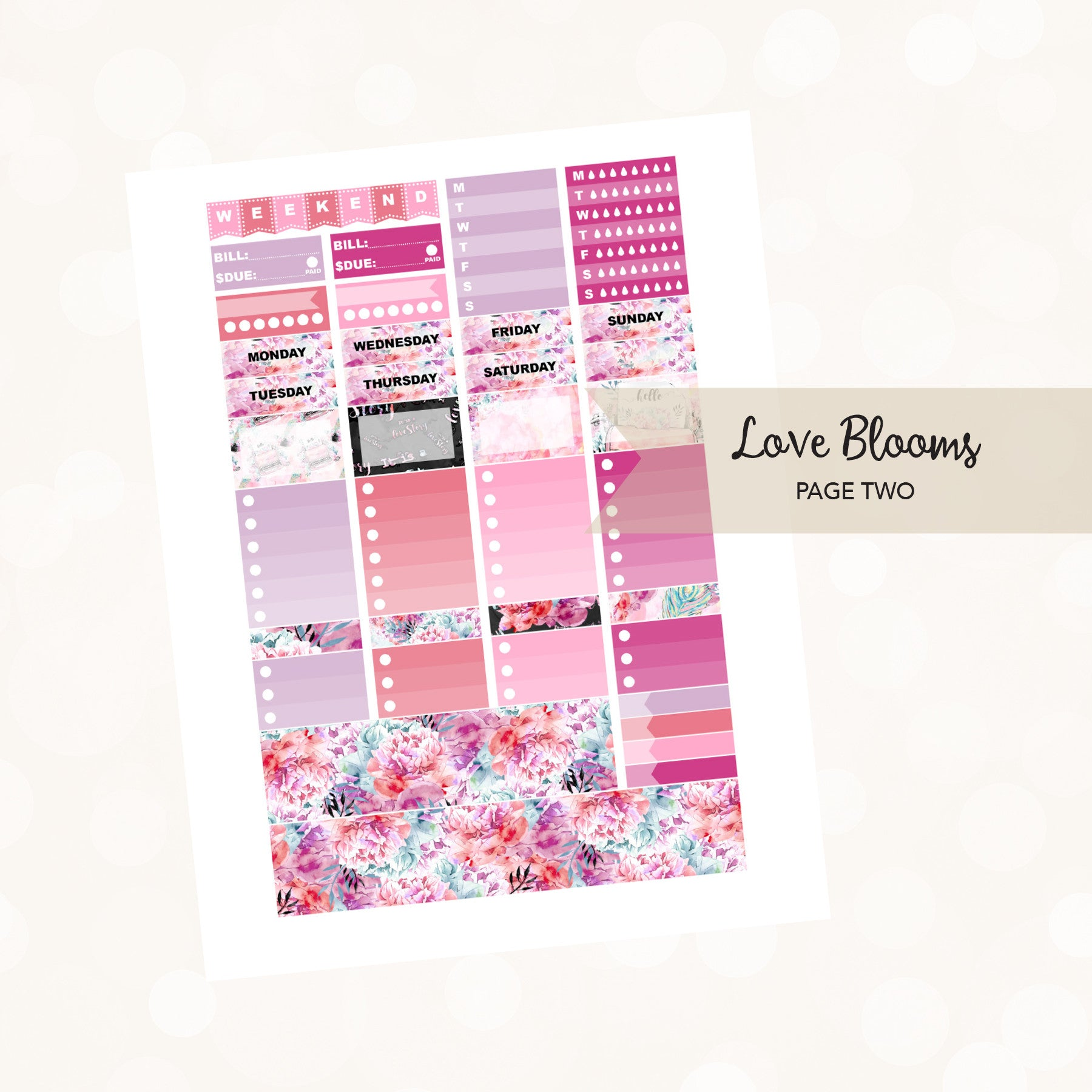 VERTICAL Printable / Instant Download / Love Blooms