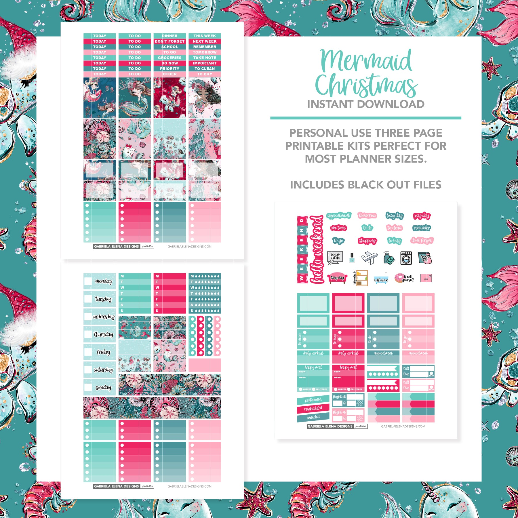 VERTICAL Printable / Instant Download / Mermaid Christmas
