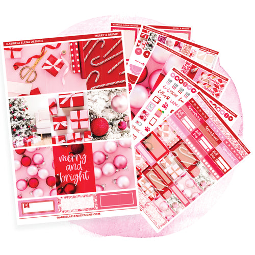 Merry and Bright // Deluxe VERTICAL // Sticker Kit // Full Weekly Kit / FOIL