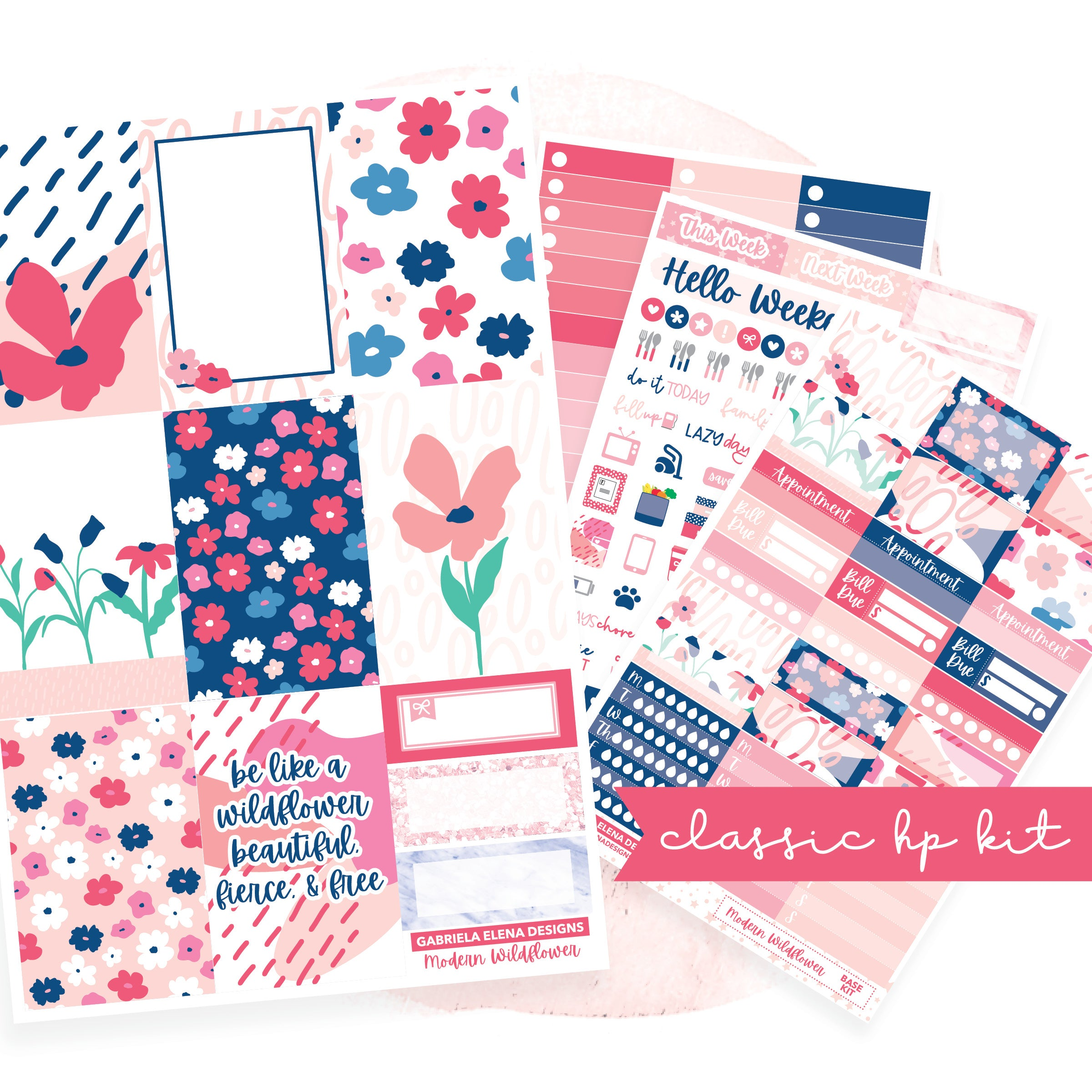 Modern Wildflower // CLASSIC HAPPY PLANNER / Sticker Kit