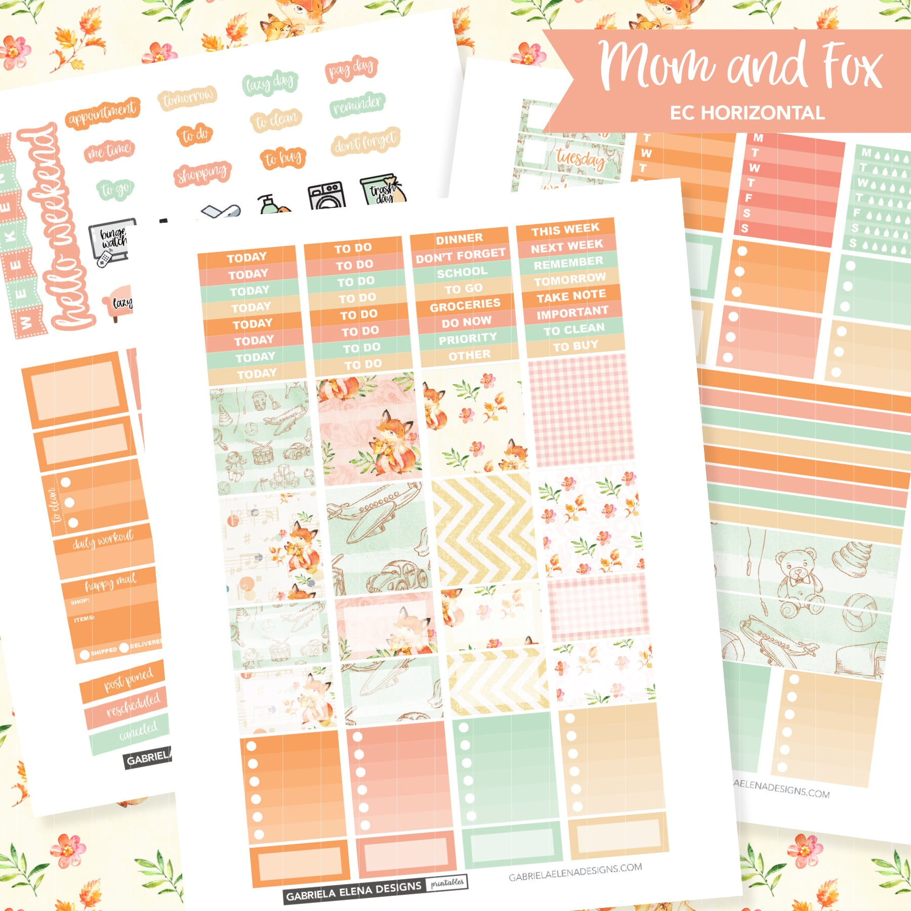 HORIZONTAL Printable / Instant Download / Mom and Fox