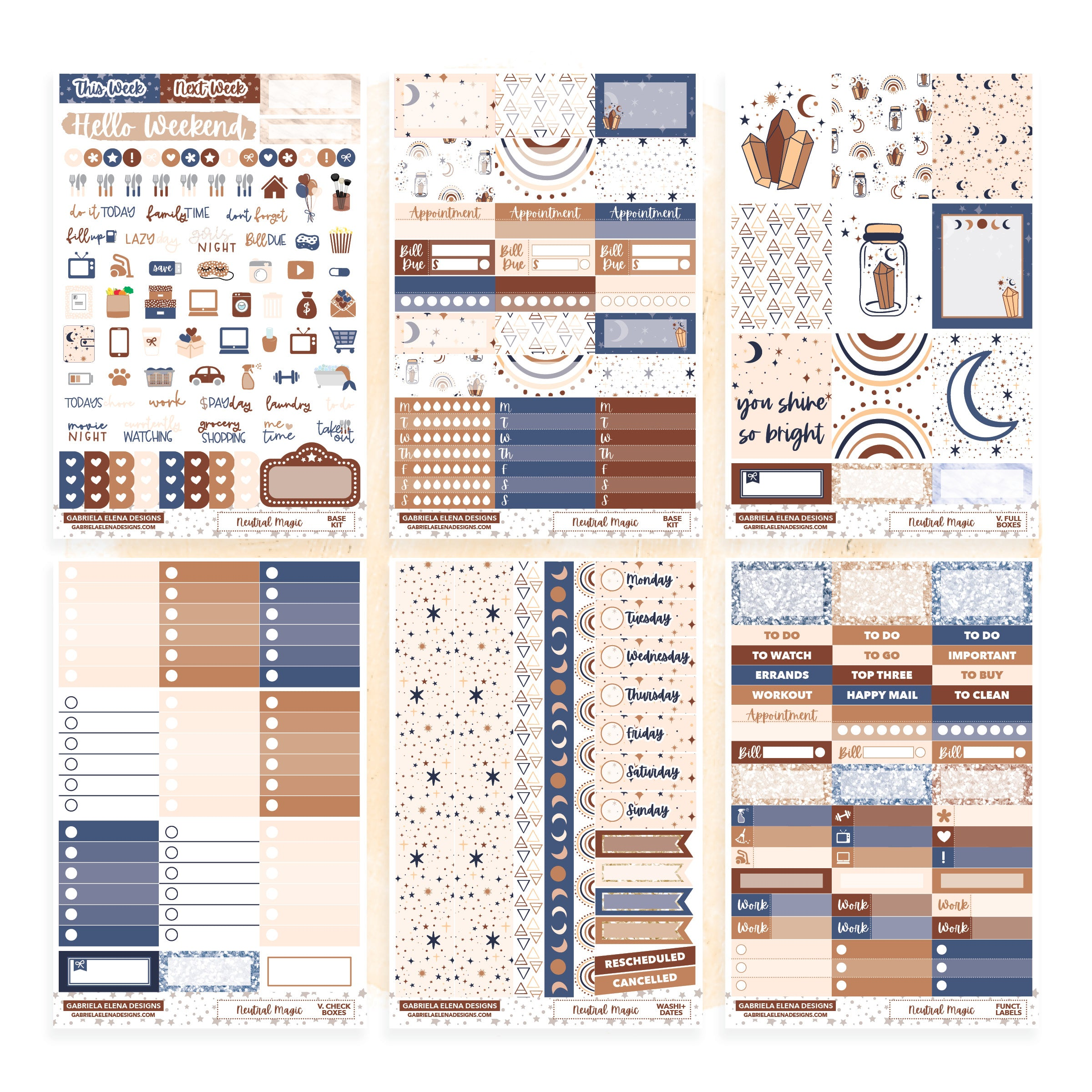 Neutral Magic // Deluxe VERTICAL // Sticker Kit // Full Weekly Kit / FOIL