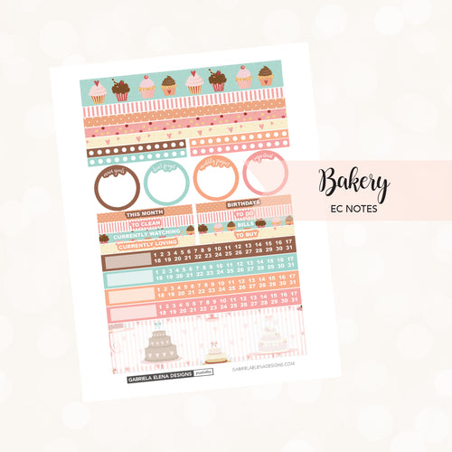 NOTES Printable / Instant Download / Bakery