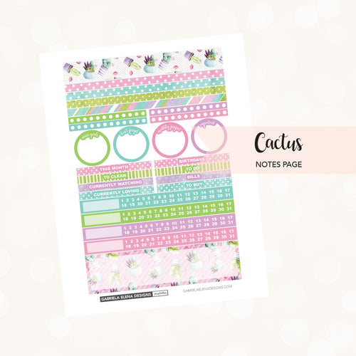 NOTES Printable / Instant Download / Cactus