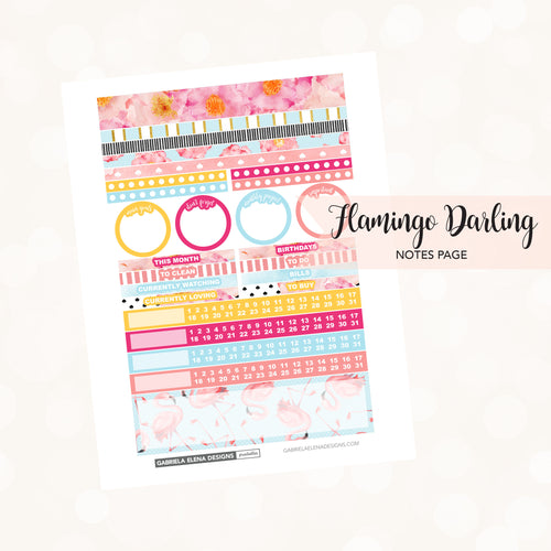 NOTES Printable / Instant Download / Flamingo Darling