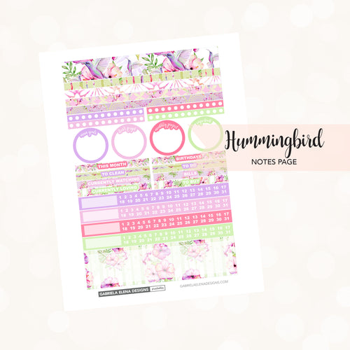 NOTES Printable / Instant Download / Hummingbird