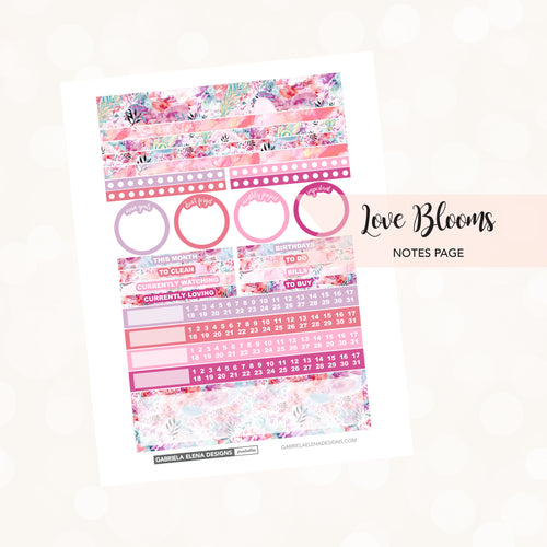 NOTES Printable / Instant Download / Love Blooms