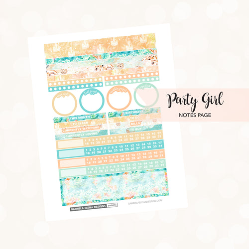 NOTES Printable / Instant Download / Party Girl