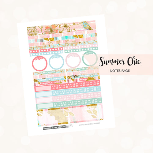 NOTES Printable / Instant Download / Summer Chic