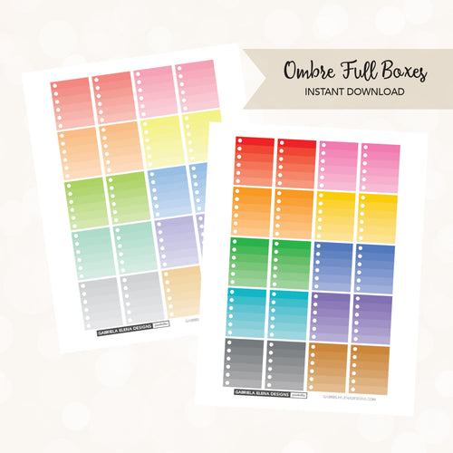 VERTICAL Printable / Instant Download / Ombre Checklists