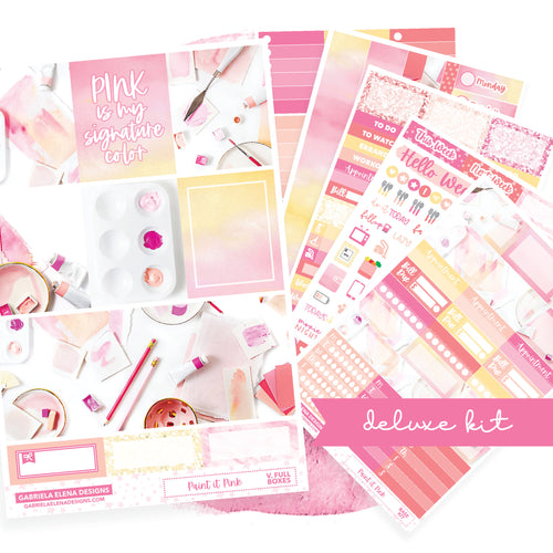 Paint it Pink / Photo Series // Deluxe EC VERTICAL // Sticker Kit // Full Weekly Kit