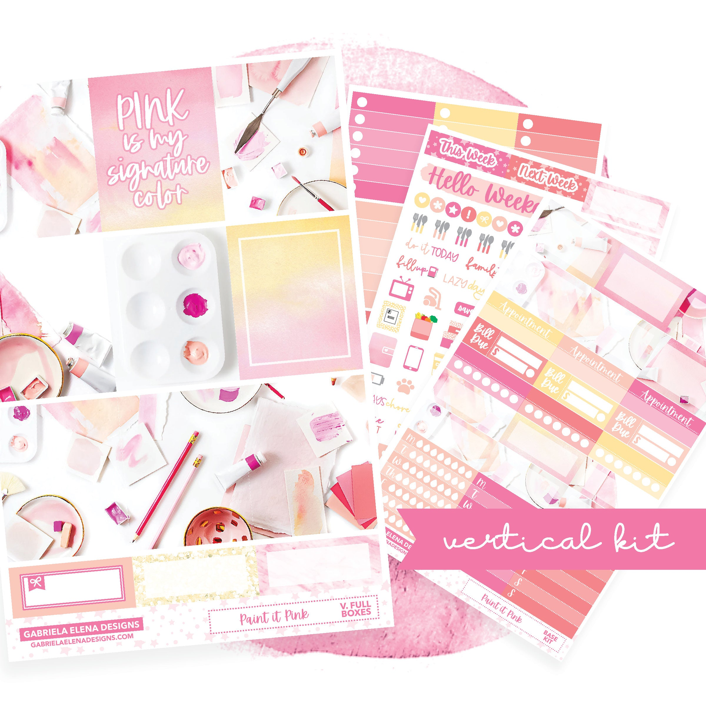 Paint it Pink / Photo Series // VERTICAL / Sticker Kit