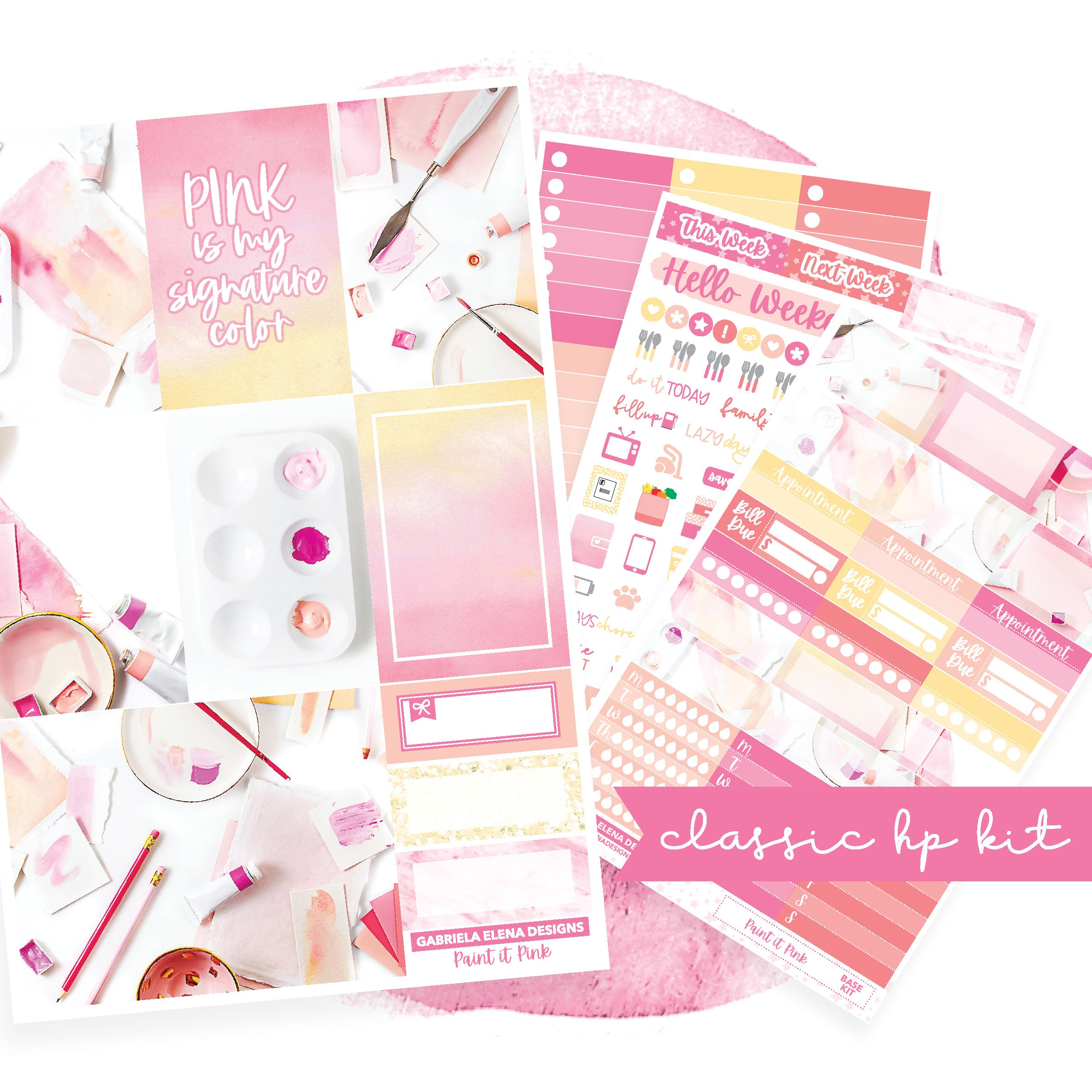 Paint it Pink / Photo Series // CLASSIC HAPPY PLANNER / Sticker Kit
