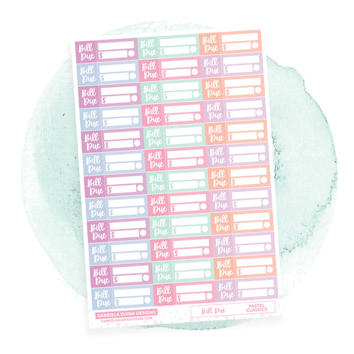 Bill Due // Functional Planner Stickers / Pastel Classics