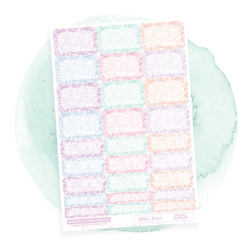 Glitter Boxes // Functional Planner Stickers / Pastel Classics
