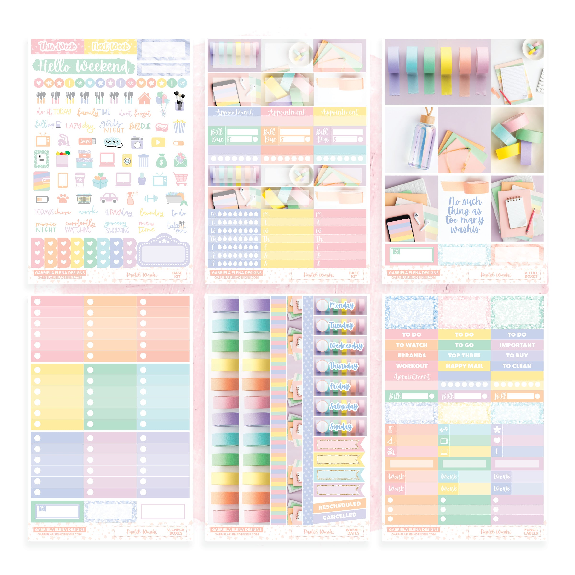 Pastel Washi / Photo Series // Deluxe VERTICAL // Sticker Kit // Full Weekly Kit / FOIL