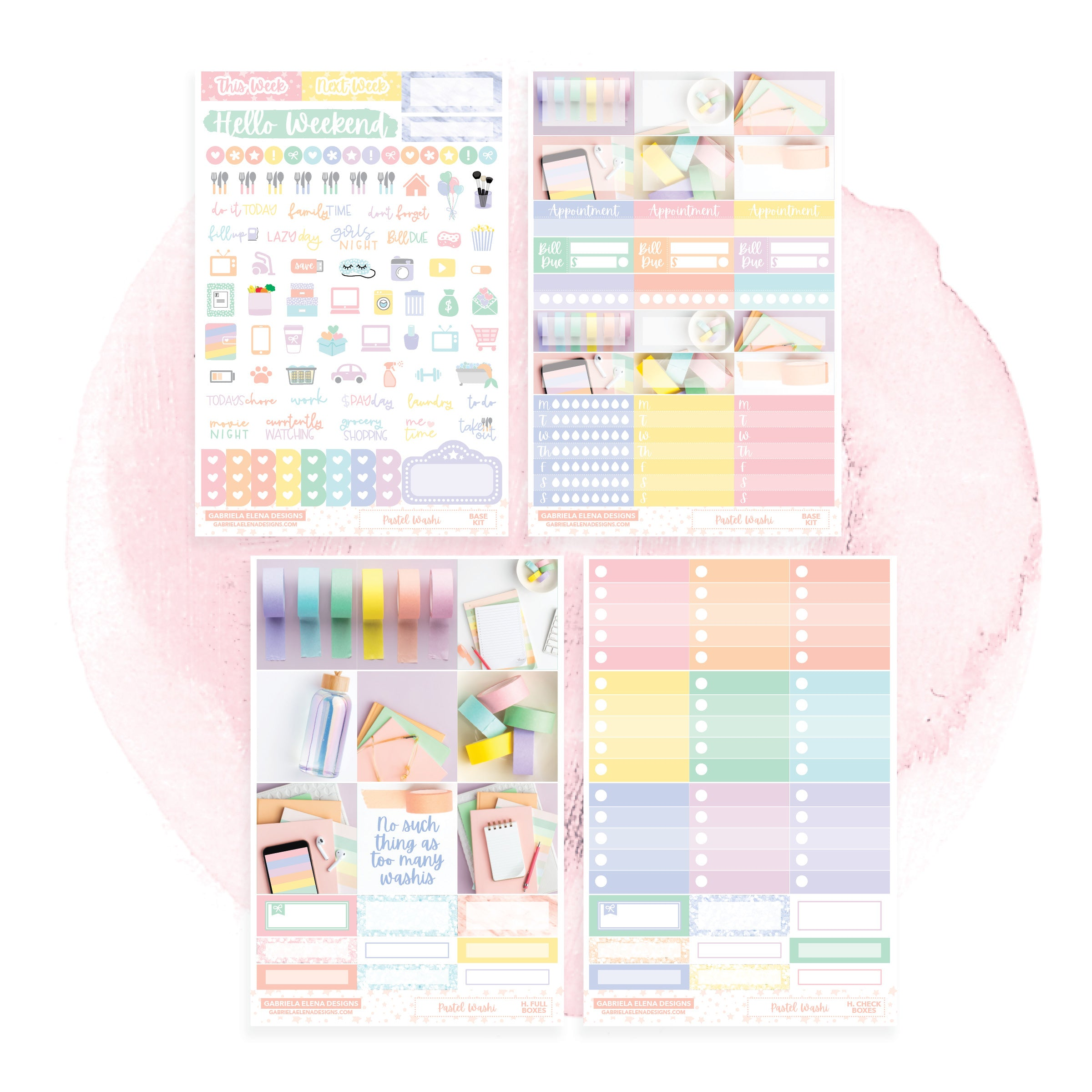 Pastel Washi / Photo Series // HORIZONTAL / Sticker Kit / FOIL