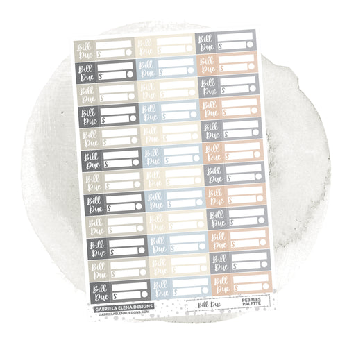 Bill Due // Functional Planner Stickers / Pebbles