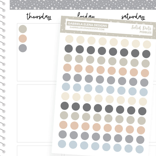 Solid Dots // Functional Planner Stickers / Pebbles