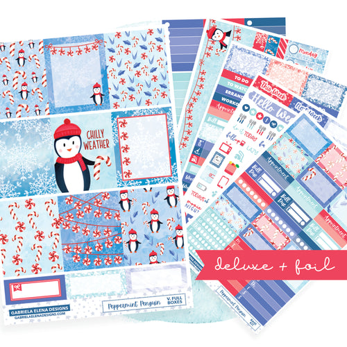 Peppermint Penguin // Deluxe VERTICAL // Sticker Kit // Full Weekly Kit / FOIL