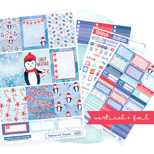 Peppermint Penguin // VERTICAL / Sticker Kit / FOIL