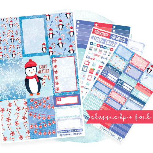 Peppermint Penguin // CLASSIC HAPPY PLANNER / Sticker Kit / FOIL
