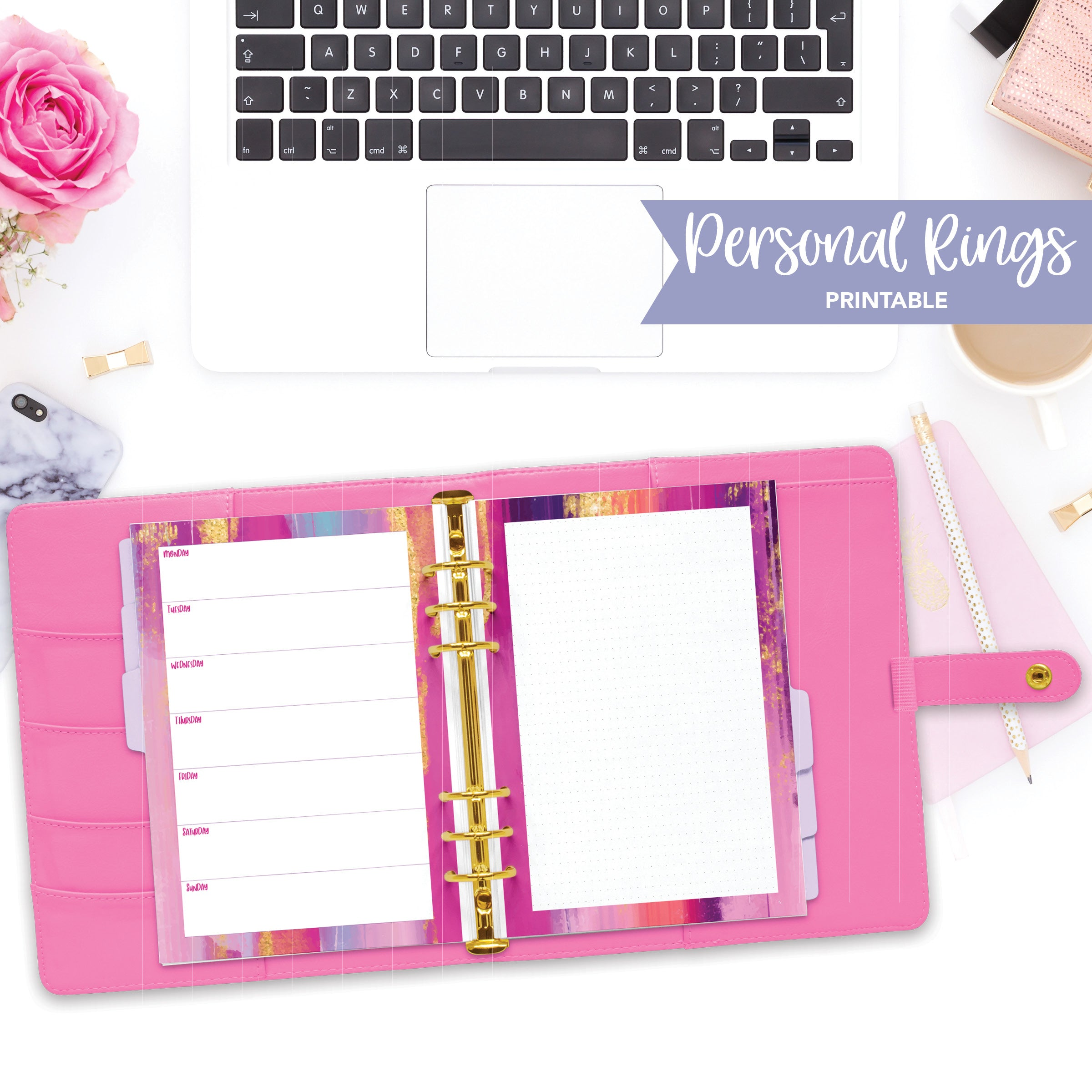 Personal Rings Printable / Instant Download // Horizontal Weekly // Pink and Purple