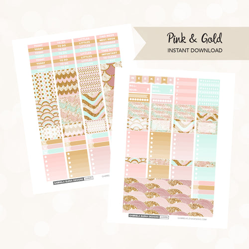 VERTICAL Printable / Instant Download / Pink and Gold