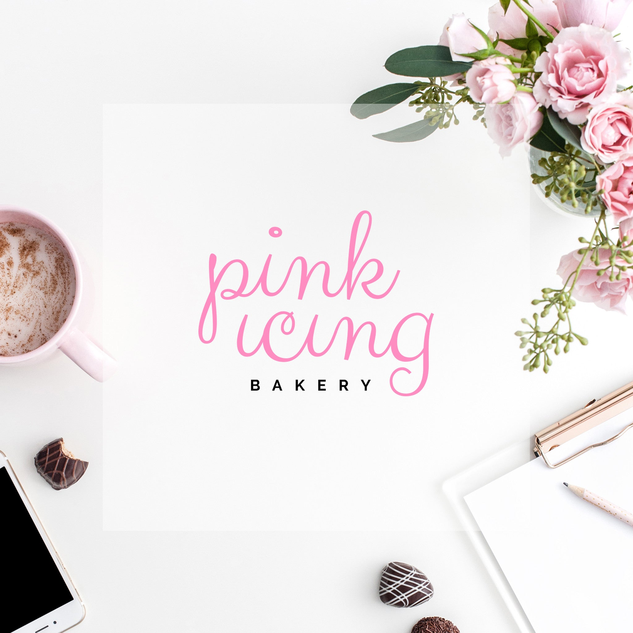 Pre-made Logo // Pink Icing