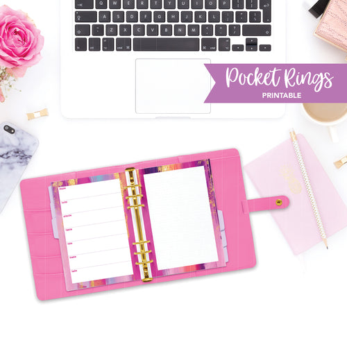 Pocket Rings Printable / Instant Download // Horizontal Weekly // Pink and Purple