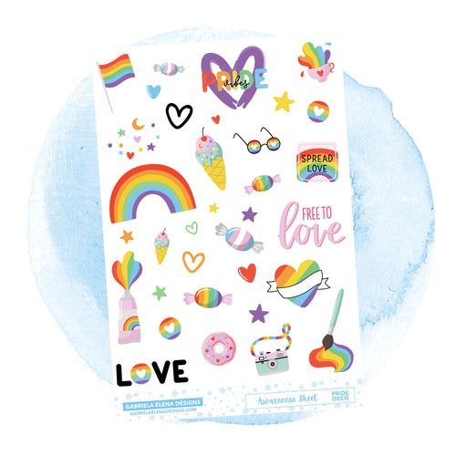 Awareness Sheet // Pride / a la carte / Sticker Kit Add On / Deco