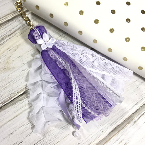 Ribbon Tassel // Purple and White