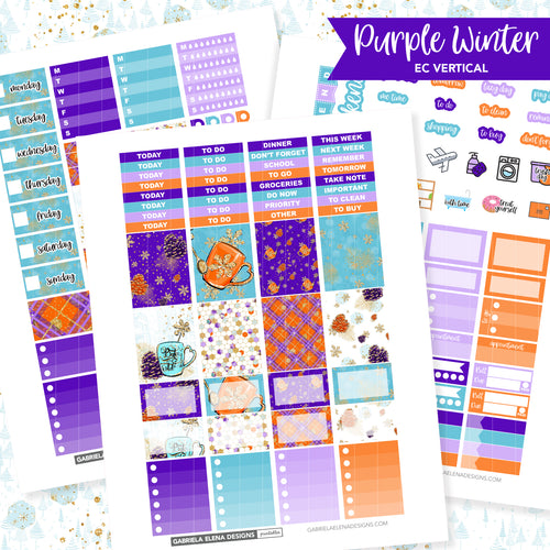 VERTICAL Printable / Instant Download / Purple Winter