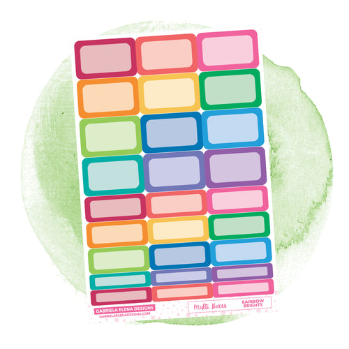 Boxes // Functional Planner Stickers / Rainbow Brights