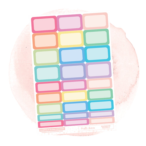 Boxes // Functional Planner Stickers / Rainbow Pastels