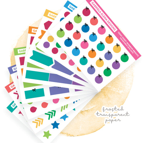 BUNDLE / Transparent Teeny Sheets // Functional Planner Stickers / Rainbow Brights