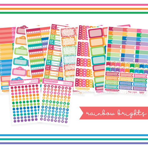 BUNDLE // Functional Planner Stickers / Rainbow Brights