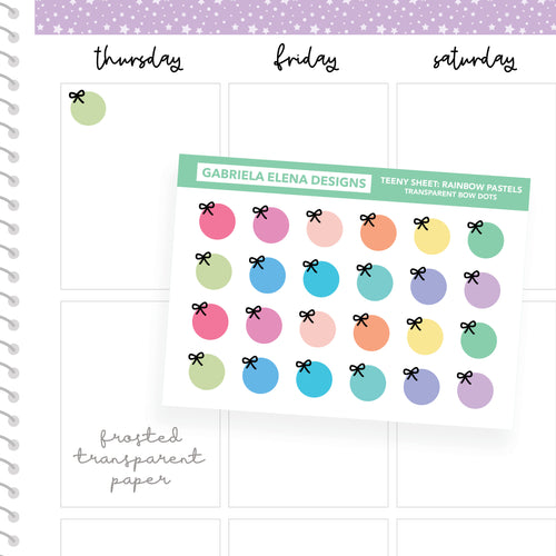 Bow Dots / Transparent Teeny Sheets // Functional Planner Stickers / Rainbow Pastels
