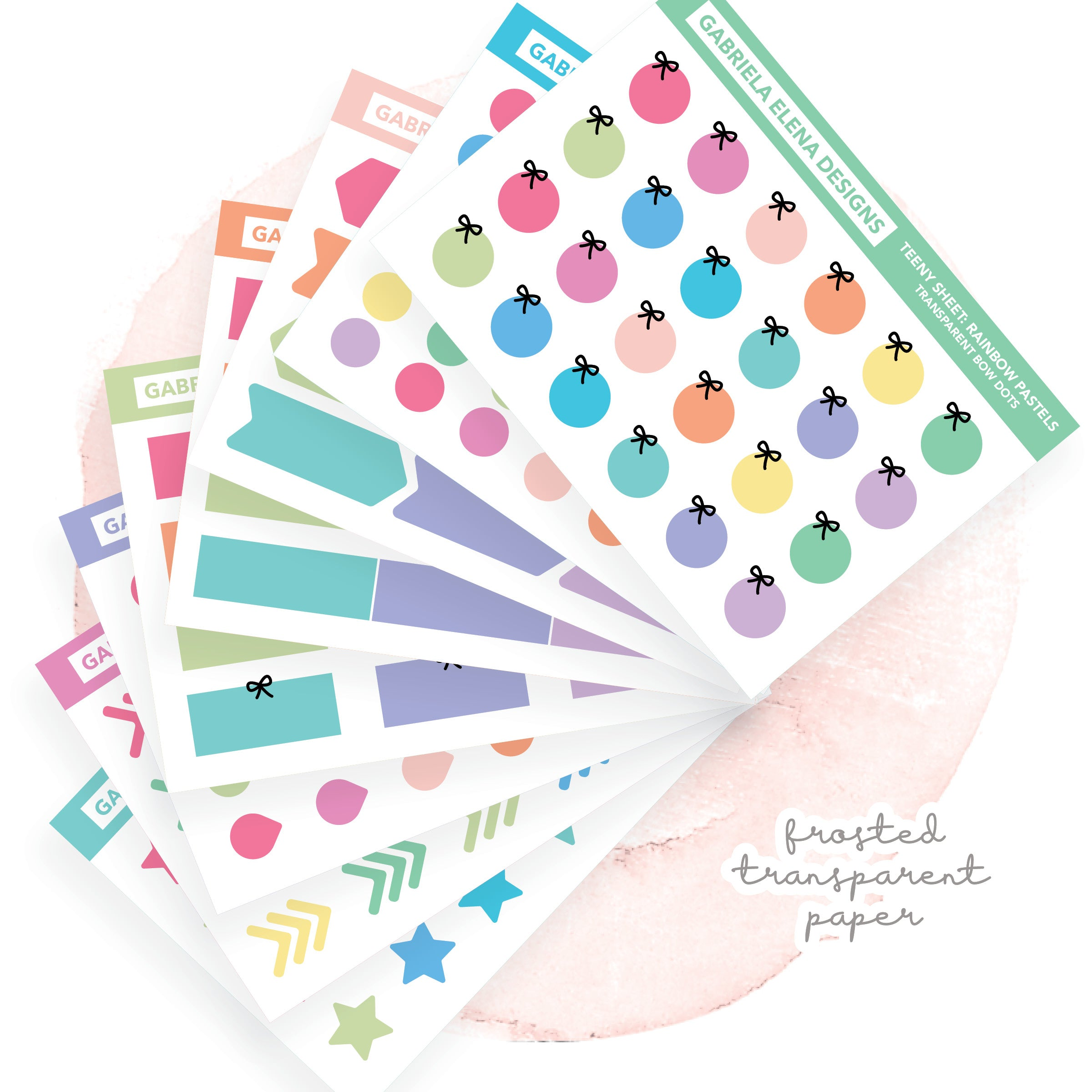 BUNDLE / Transparent Teeny Sheets // Functional Planner Stickers / Rainbow Pastels