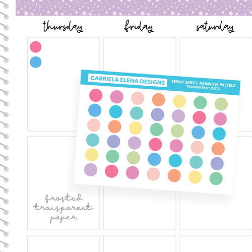 Dots / Transparent Teeny Sheets // Functional Planner Stickers / Rainbow Pastels
