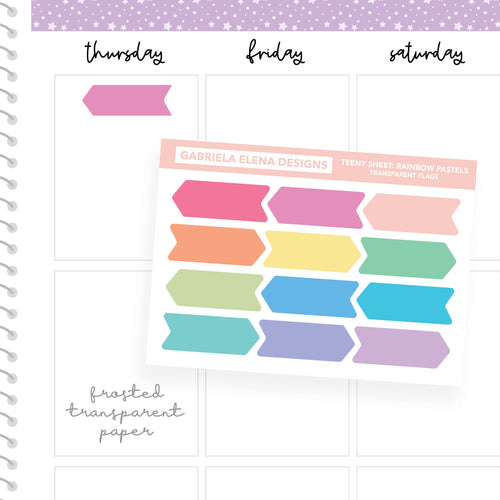 Flags / Transparent Teeny Sheets // Functional Planner Stickers / Rainbow Pastels