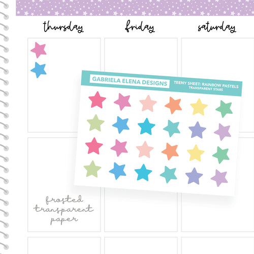 Stars / Transparent Teeny Sheets // Functional Planner Stickers / Rainbow Pastels