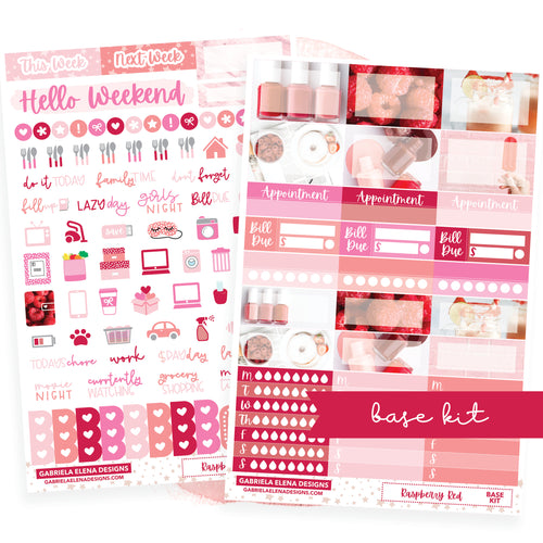 Raspberry Red / Photo Series // BASE KIT / Icons / Functional / Sticker Kit