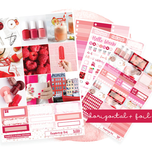 Raspberry Red / Photo Series // EC HORIZONTAL / Sticker Kit / FOIL