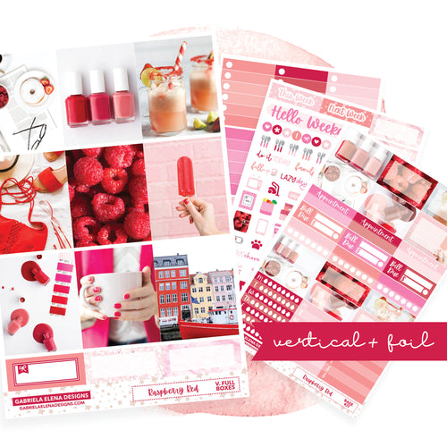 Raspberry Red / Photo Series // EC VERTICAL / Sticker Kit / FOIL