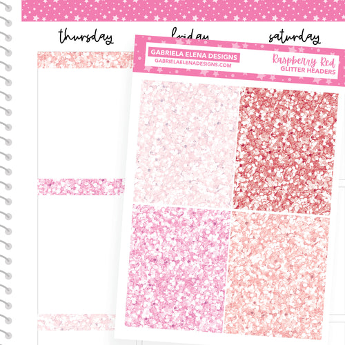 Raspberry Red / Photo Series // a la carte / Sticker Kit Add On / Glitter Headers